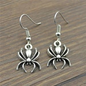 silver color spider earrings